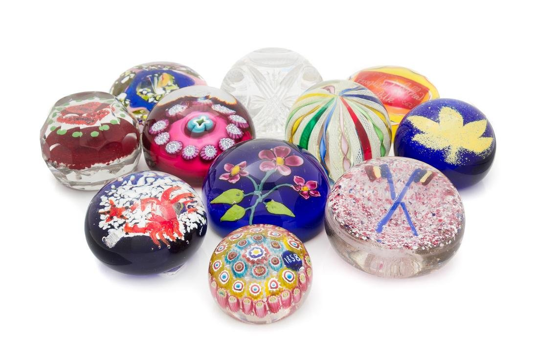 * Twelve Various Paperweights Diameter of largest 3 3/4