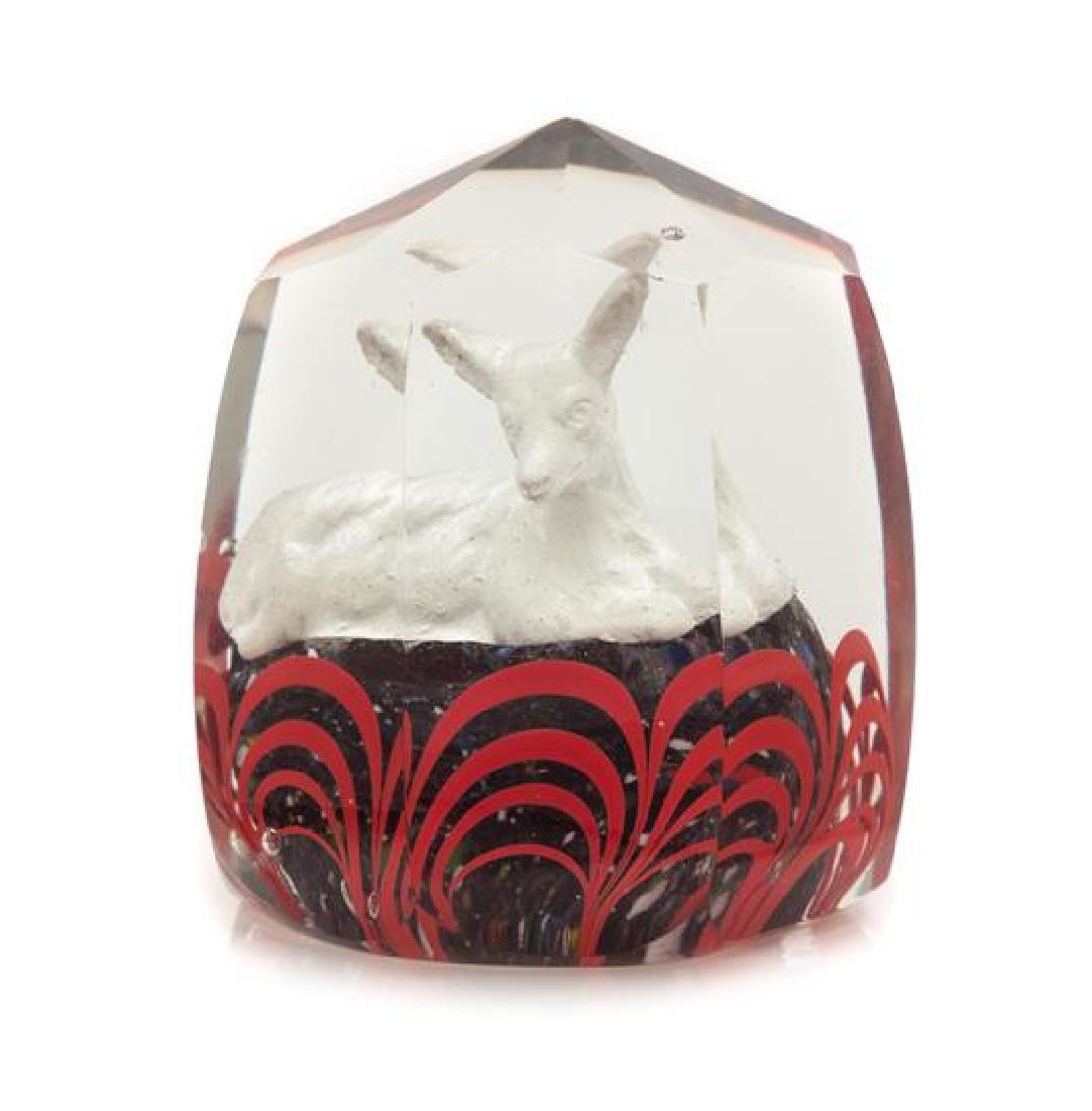 * An Antique Bohemian Glass Deer Paperweight Height 3