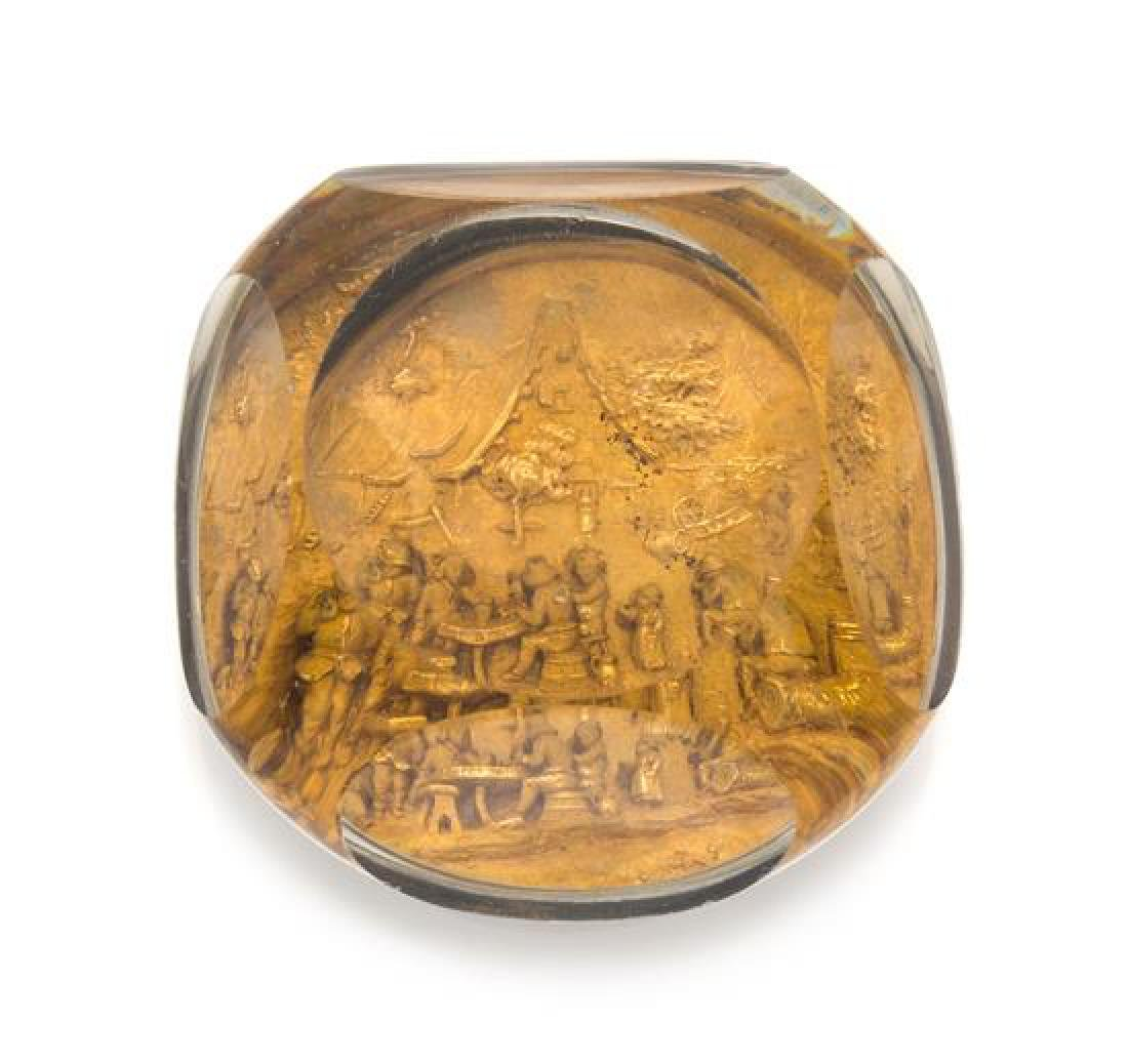 * An Antique Pinchbeck Faceted Golden Pastoral Scene