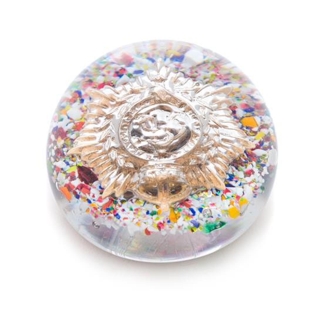 * A World War II Military Badge Paperweight Over Frit,