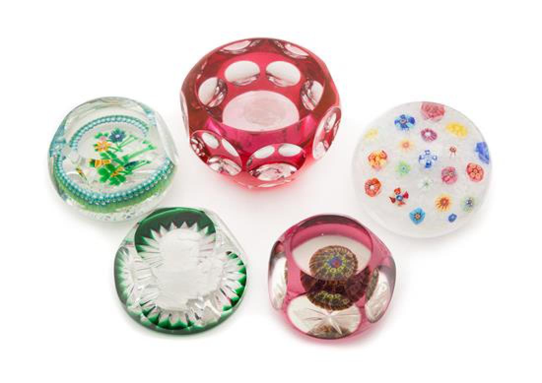 * A Collection of Five Glass Paperweights Diameter of