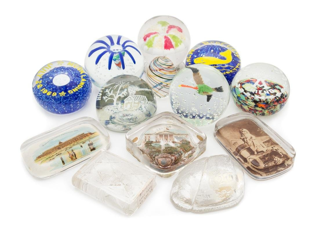 * A Collection of Thirteen American Glass Paperweights