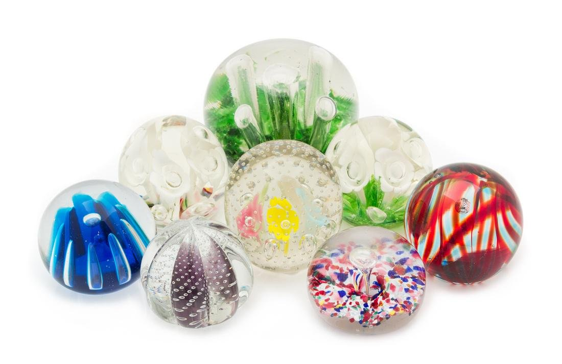 * A Collection of Glass Paperweights Diameter of