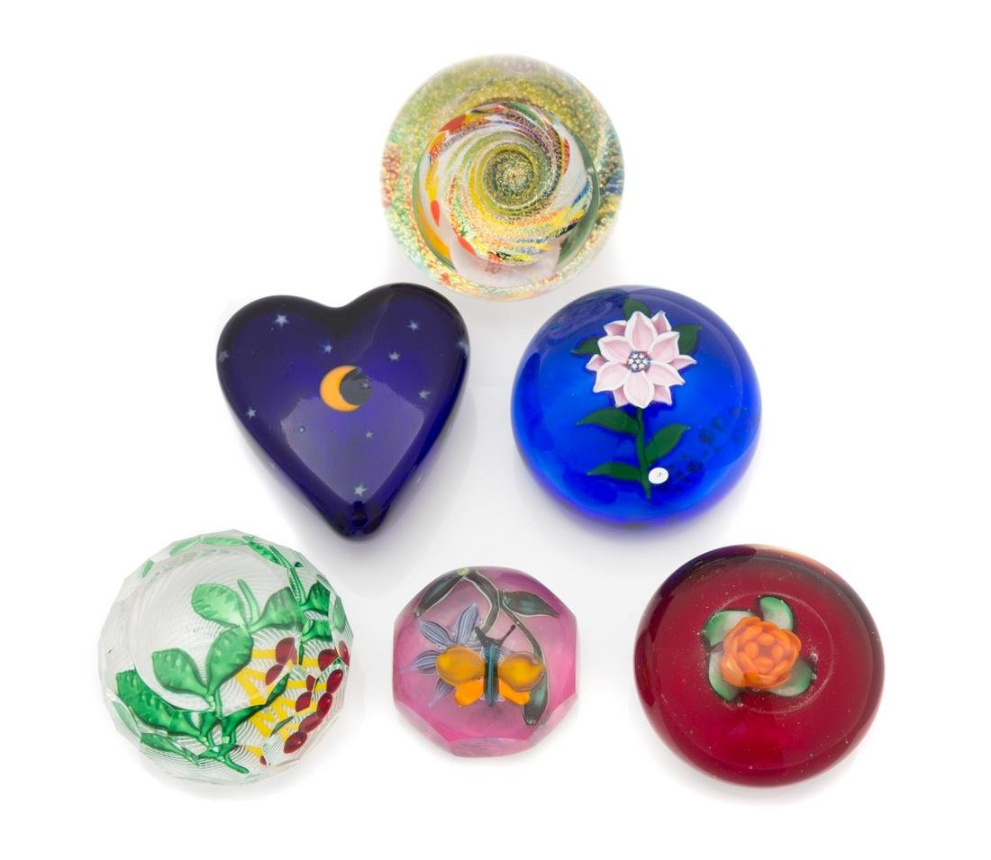 * Six Miniature Glass Paperweights Diameter of largest