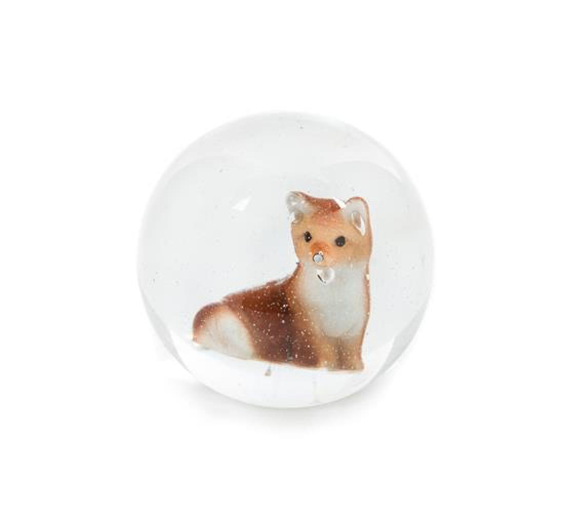 * A Large Glass Marble Brown Fox Sulphide Paperweight
