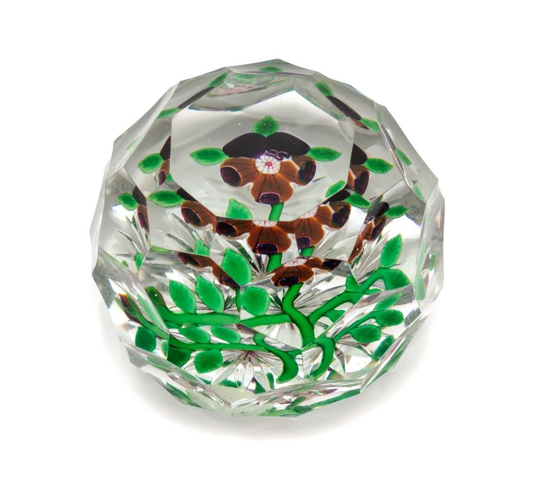 Baccarat, , a multi-faceted pansy paperweight
