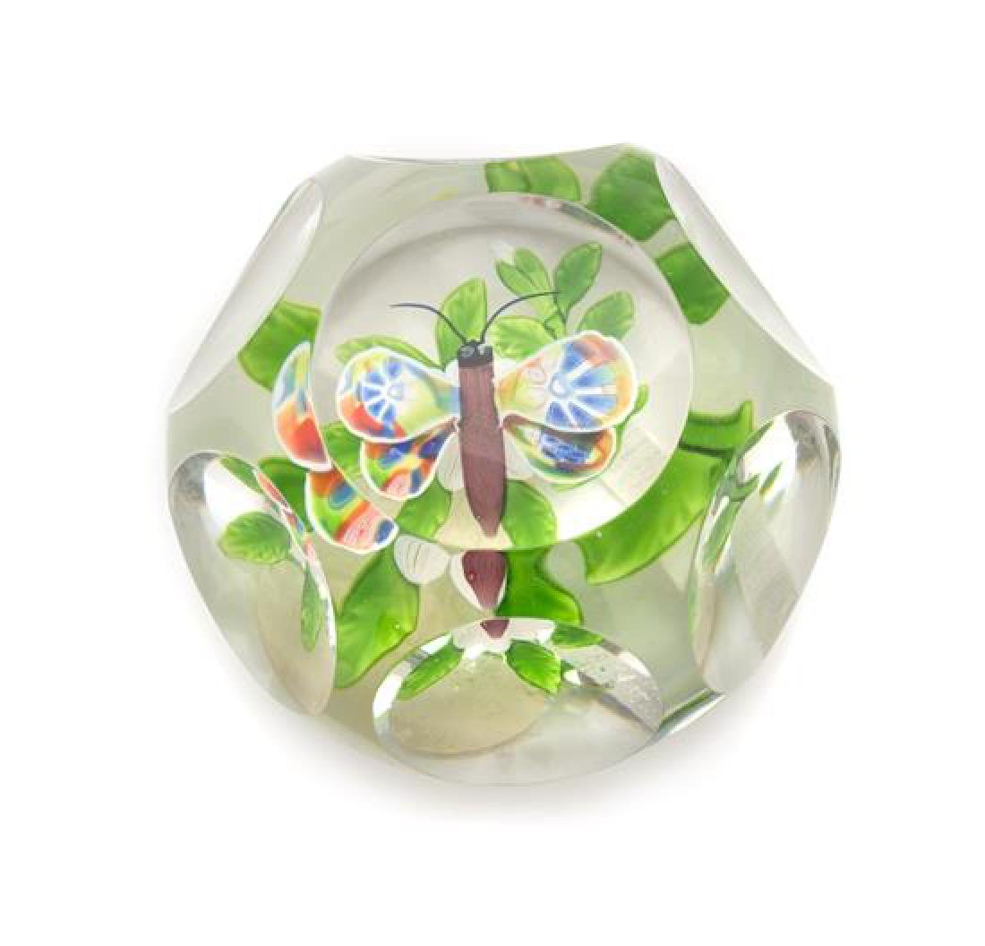 * Baccarat , , a faceted butterfly and double clematis