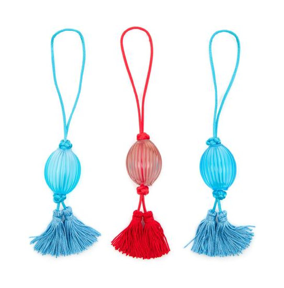 Lalique, , three Nerita glass tassels, each in the