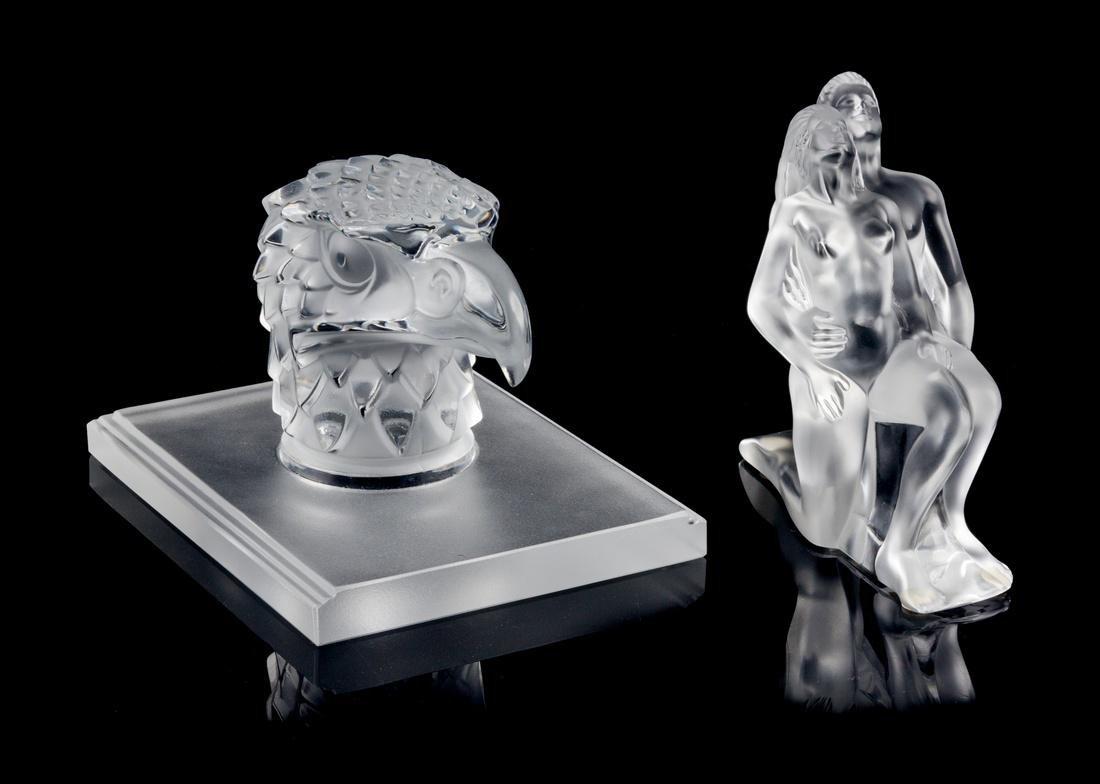 Lalique, , two glass figural sculptures