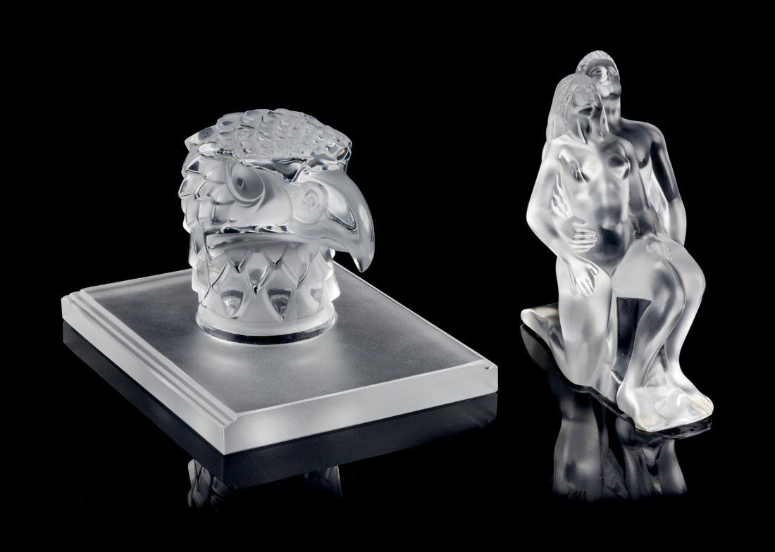 Lalique, , two glass figural sculptures