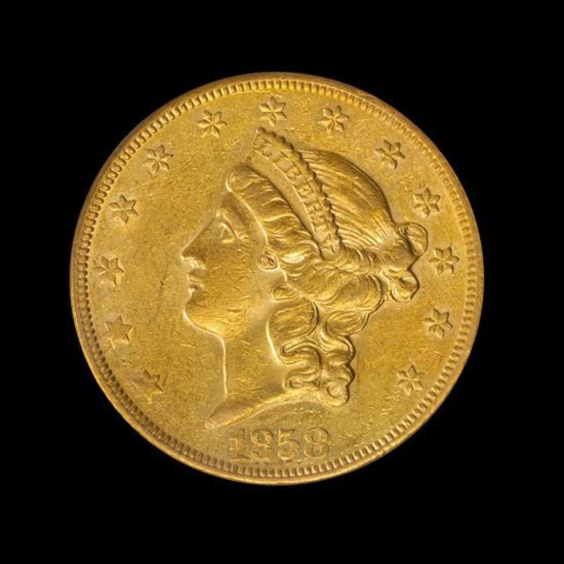 1858-O Liberty Head $20 Gold Coin