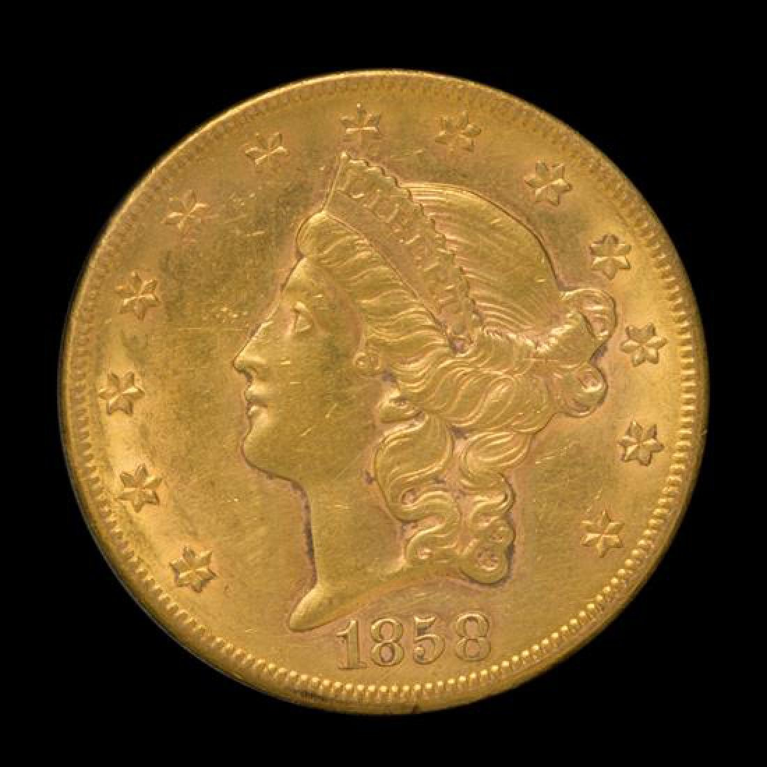 A United States 1858-S Liberty Head $20 Gold Coin