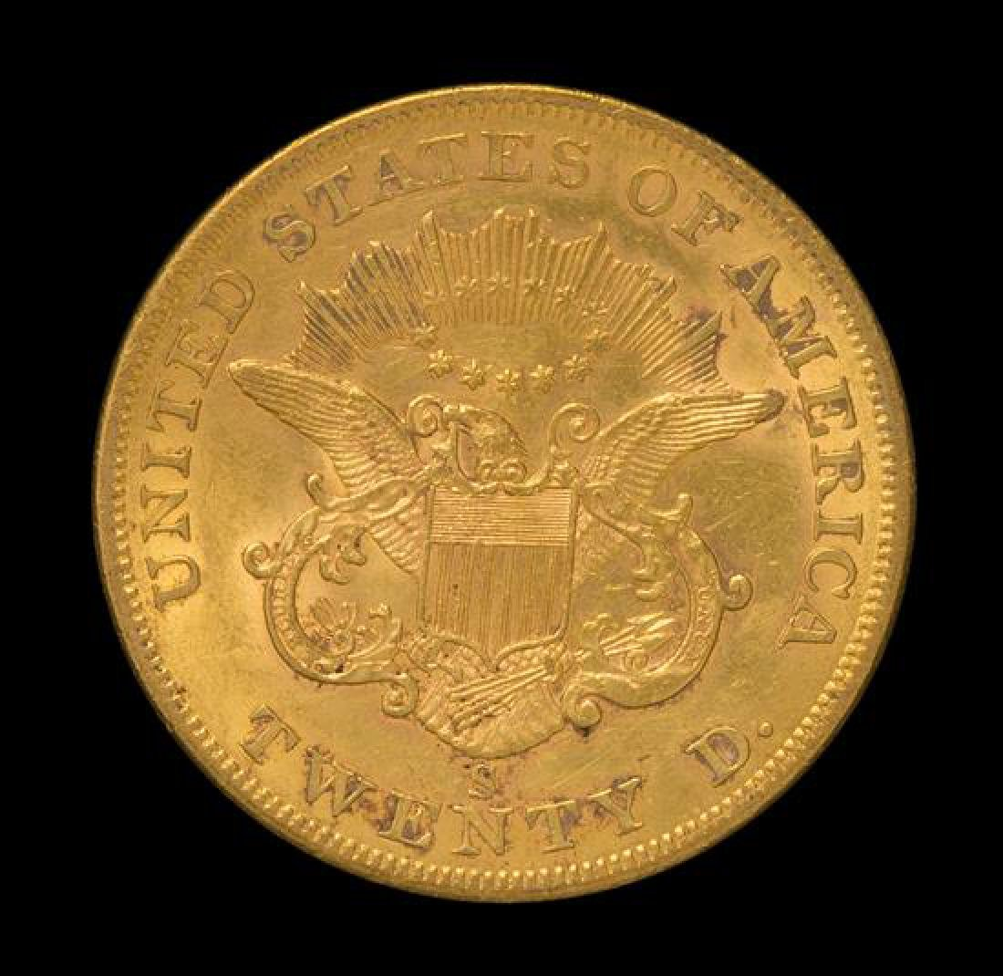 A United States 1858-S Liberty Head $20 Gold Coin - 2