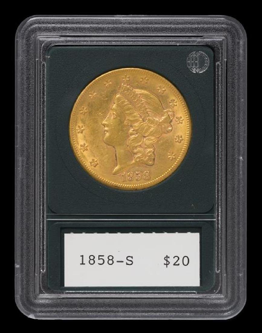 A United States 1858-S Liberty Head $20 Gold Coin - 3