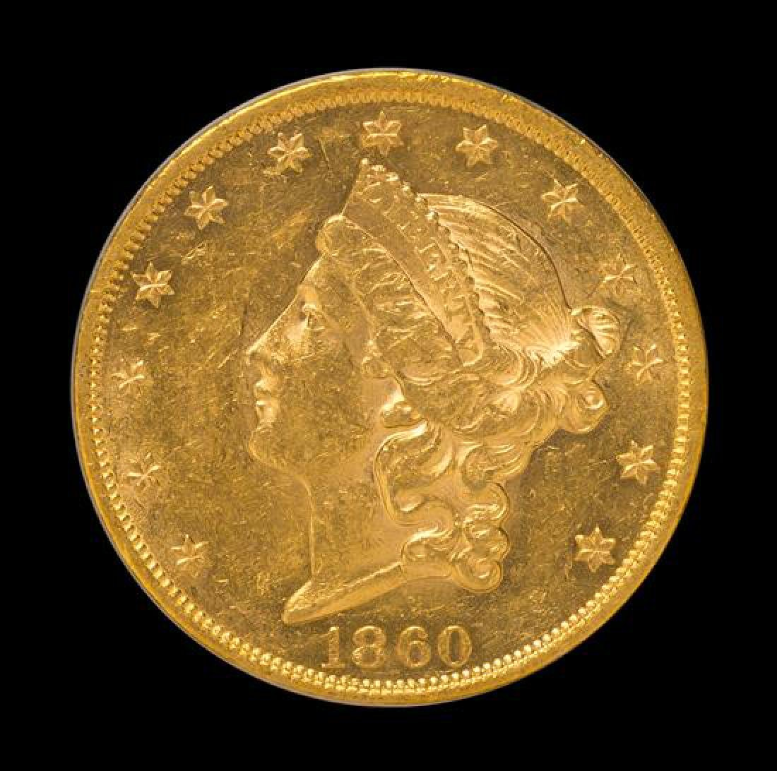 A United States 1860 Liberty Head $20 Gold Coin