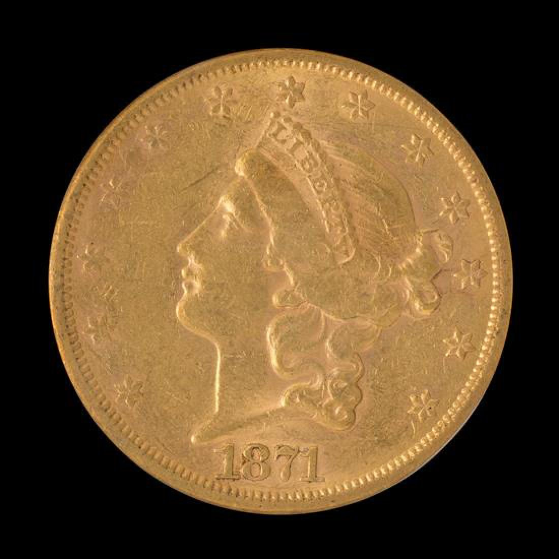 A United States 1871-S Liberty Head $20 Gold Coin