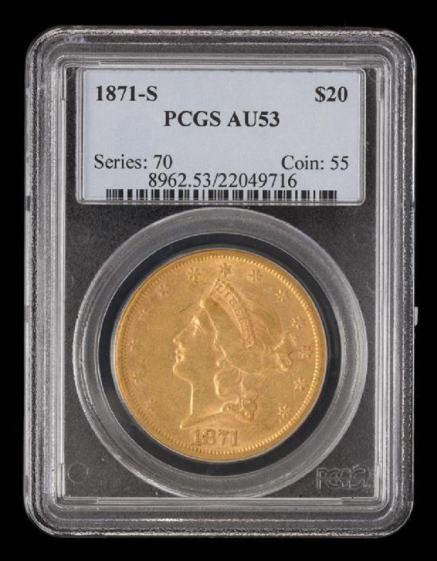 A United States 1871-S Liberty Head $20 Gold Coin - 3