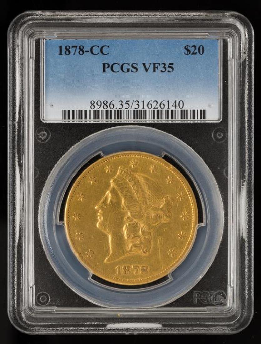 A United States 1878-CC Liberty Head $20 Gold Coin - 3