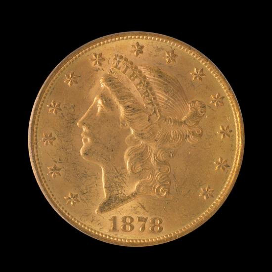 A United States 1878-S Liberty Head $20 Gold Coin