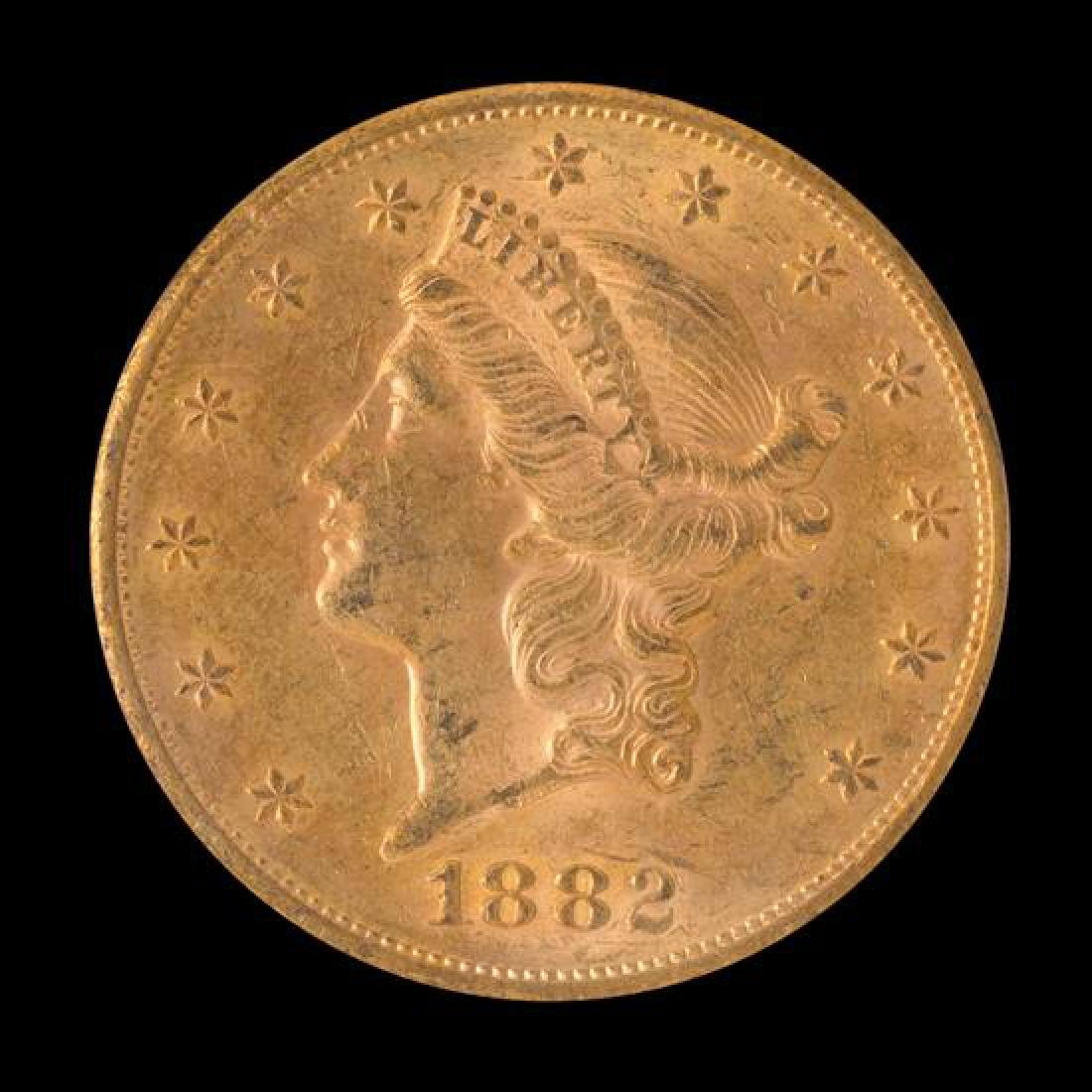 A United States 1882-S Liberty Head $20 Gold Coin