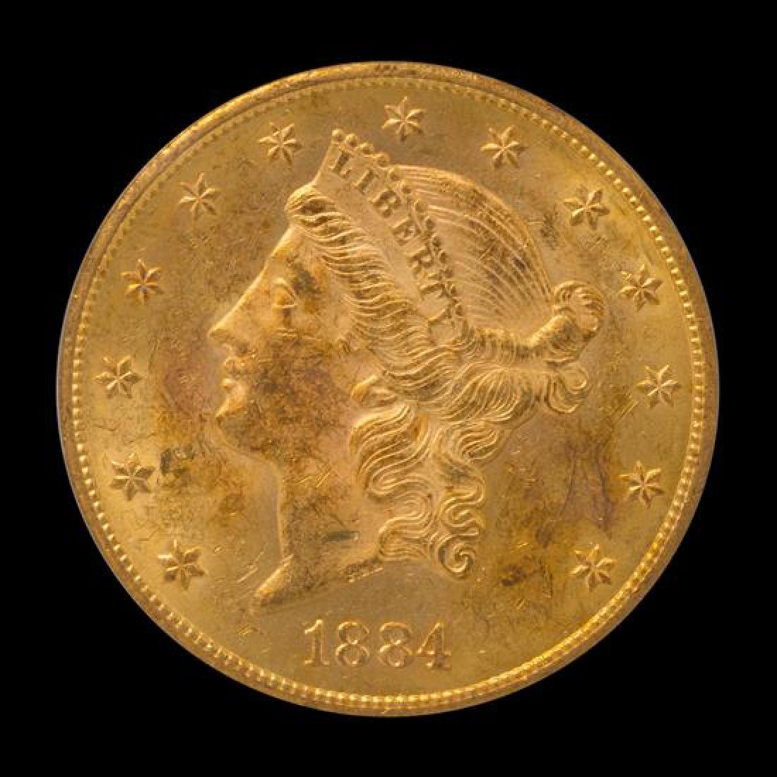 A United States 1884-CC Liberty Head $20 Gold Coin