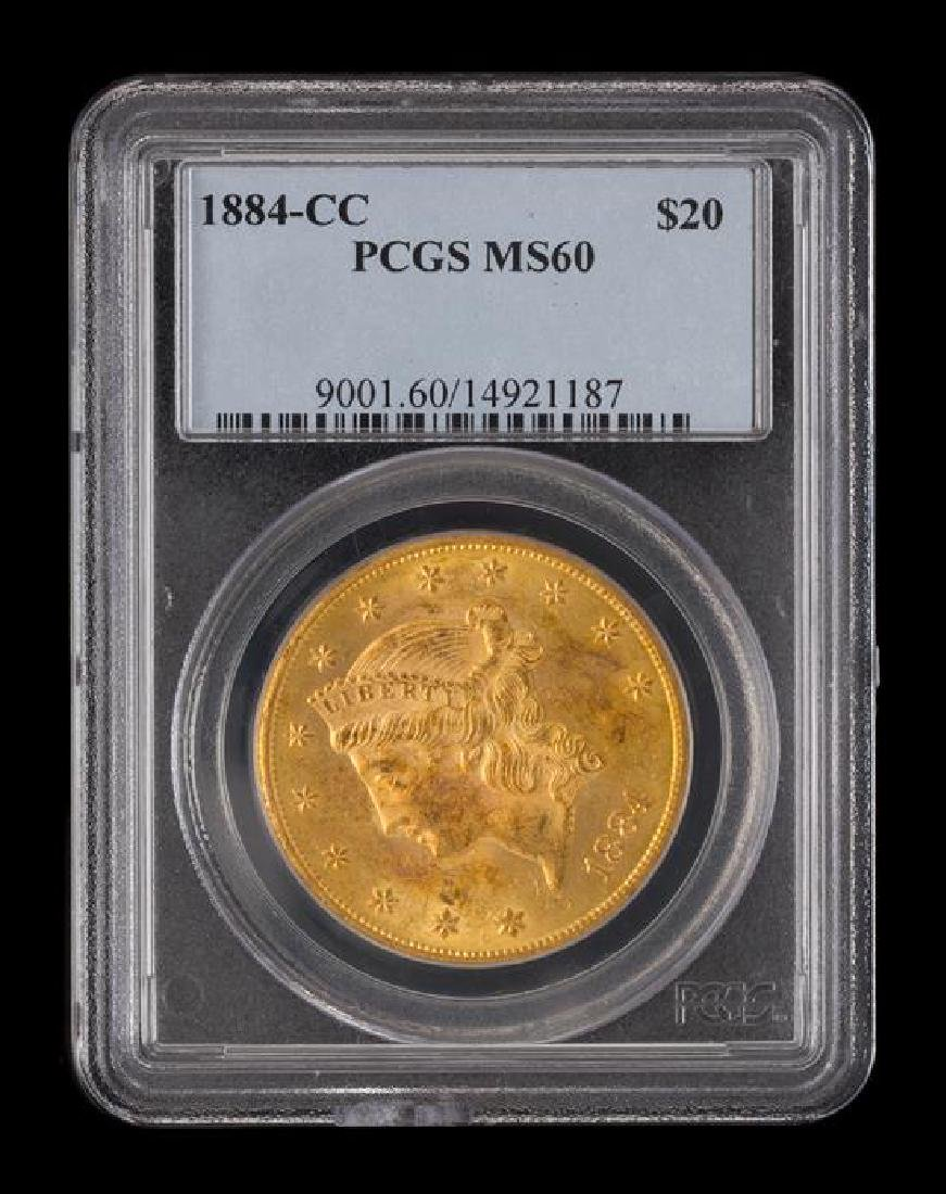 A United States 1884-CC Liberty Head $20 Gold Coin - 3