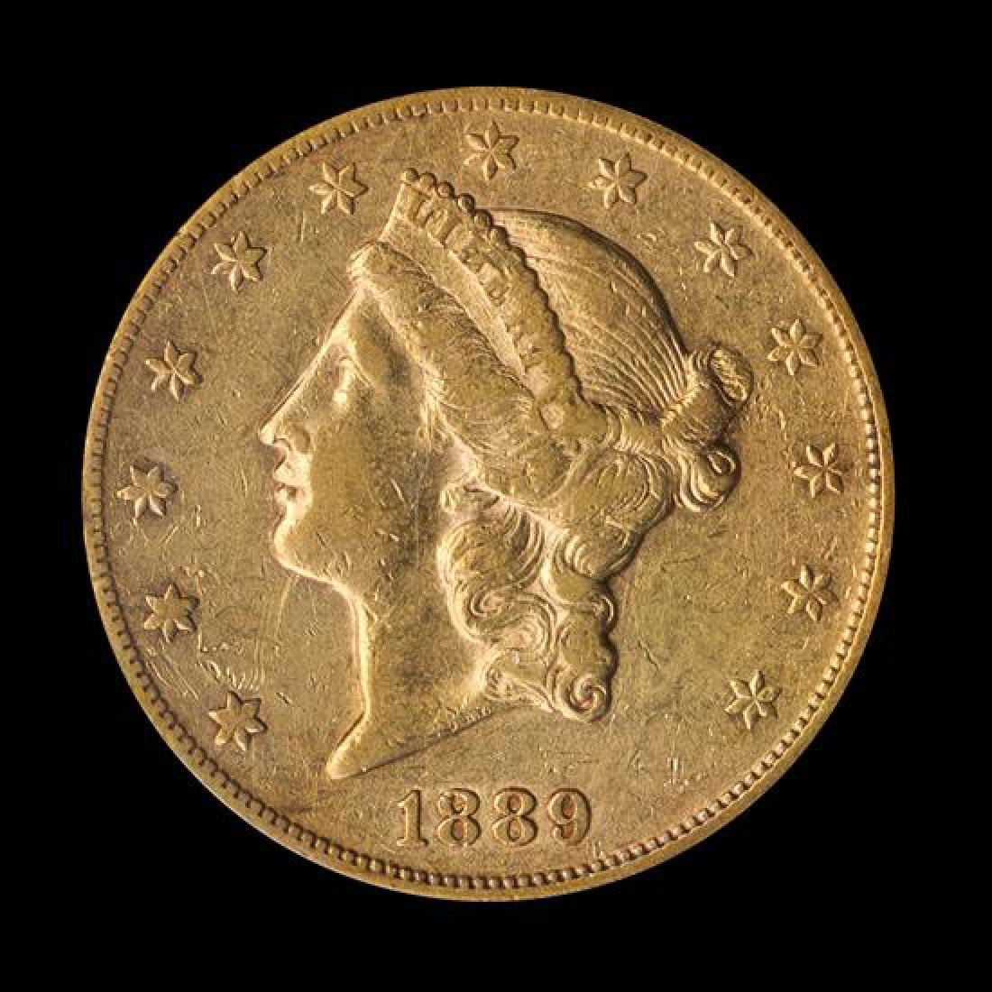 A United States 1889-CC Liberty Head $20 Gold Coin