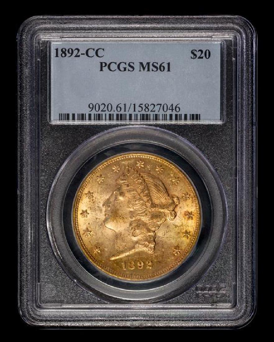 A United States 1892-CC Liberty Head $20 Gold Coin - 3