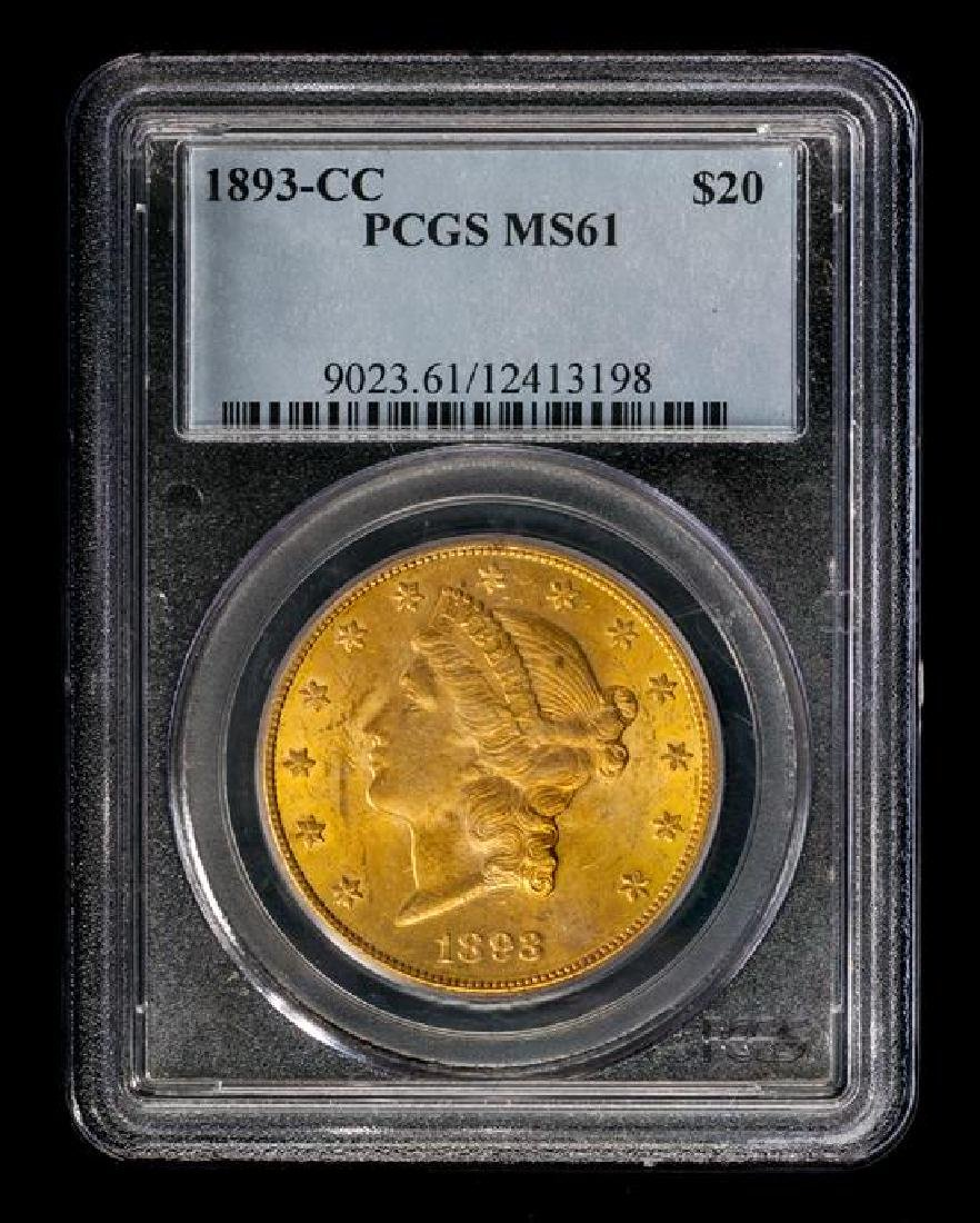A United States 1893-CC Liberty Head $20 Gold Coin - 3