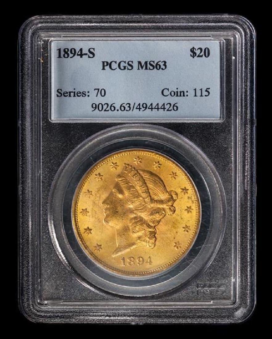 A United States 1894-S Liberty Head $20 Gold Coin - 3