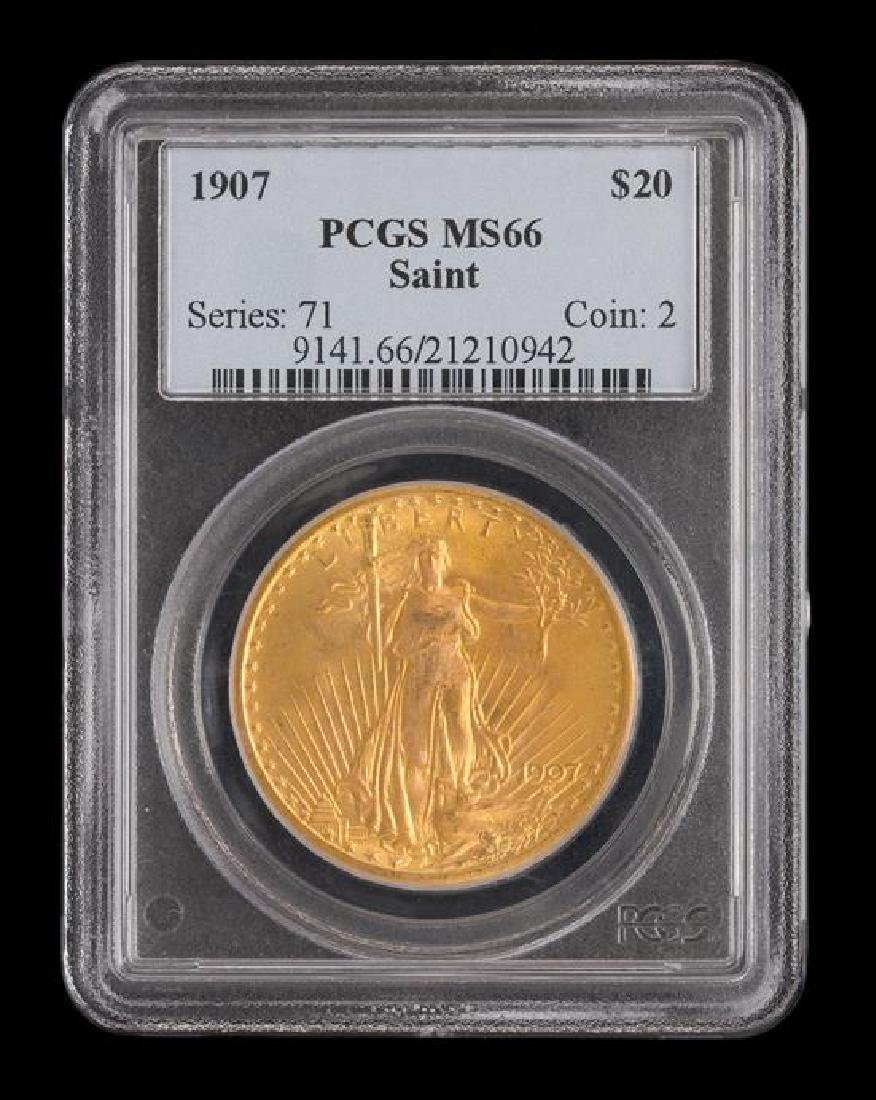 A United States 1907 Saint-Gaudens $20 Gold Coin - 3