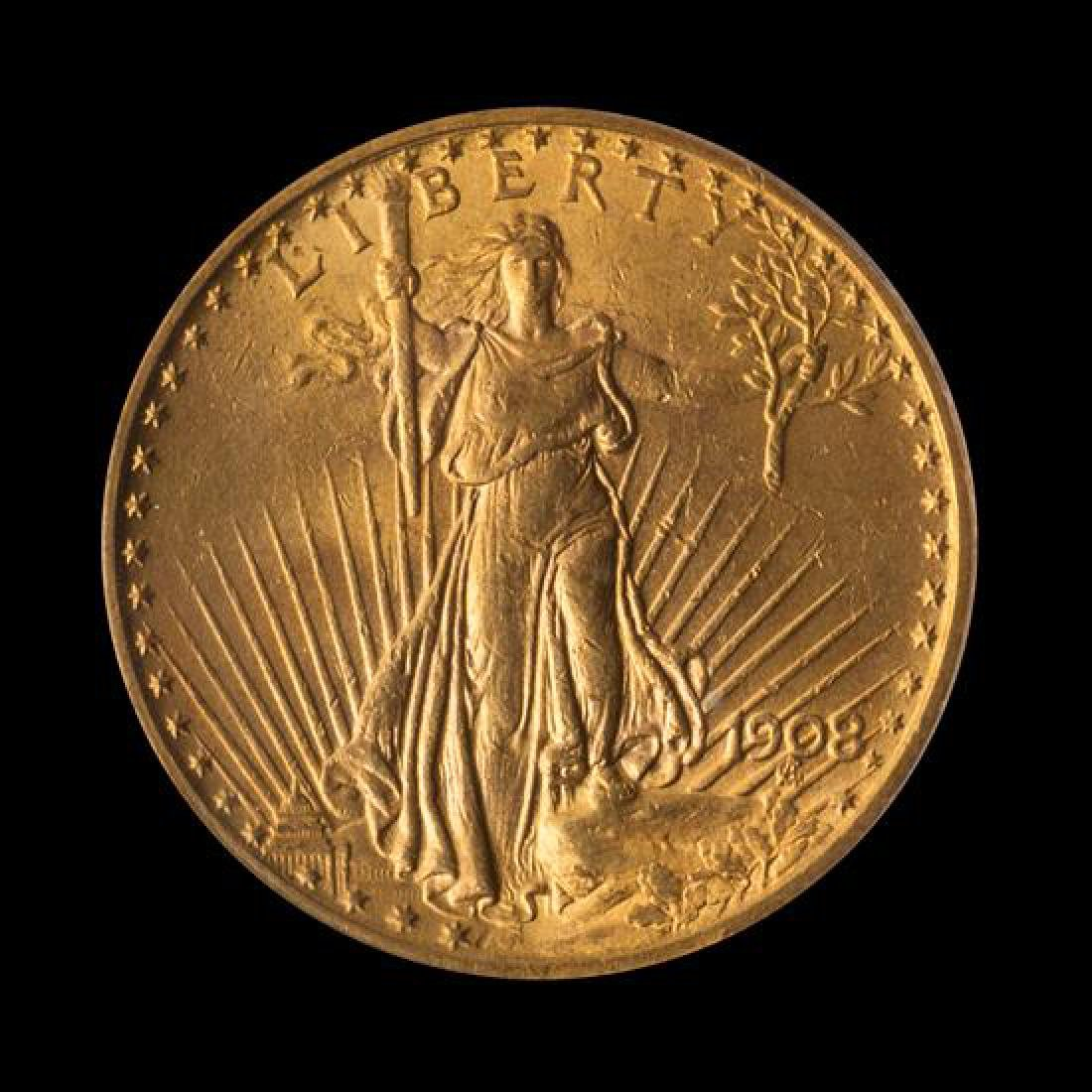 A United States 1908 Saint-Gaudens: Motto $20 Gold Coin