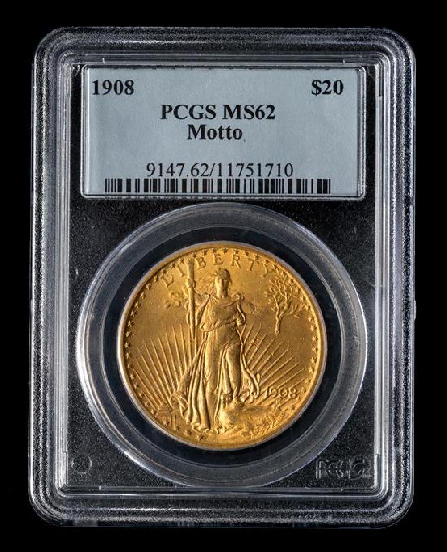 A United States 1908 Saint-Gaudens: Motto $20 Gold Coin - 3