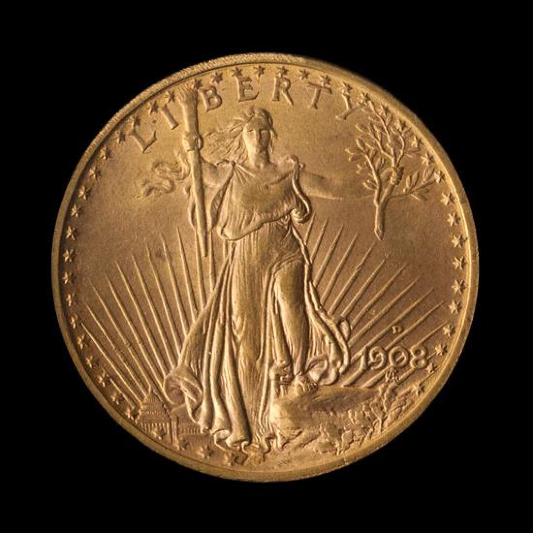 A United States 1908-D Saint-Gaudens: Motto $20 Gold