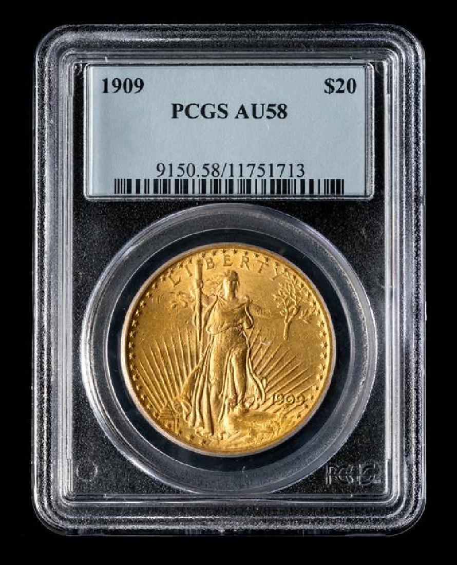A United States 1909 Saint-Gaudens $20 Gold Coin - 3