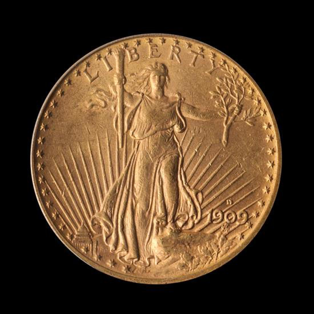 A United States 1909-D Saint-Gaudens $20 Gold Coin