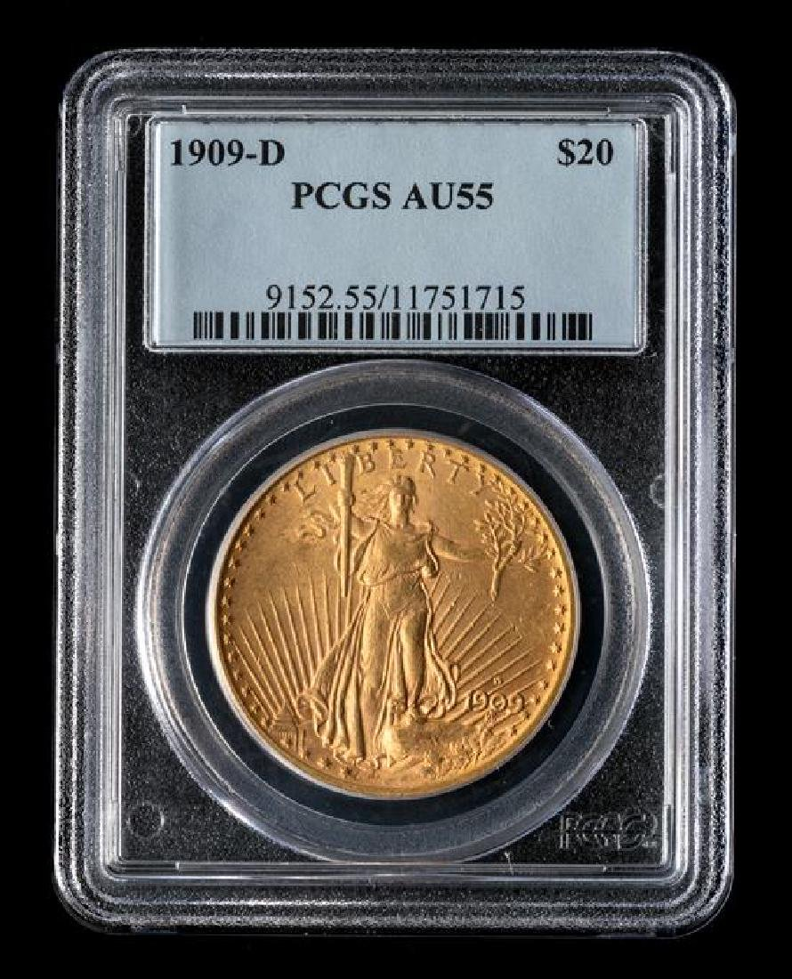 A United States 1909-D Saint-Gaudens $20 Gold Coin - 3