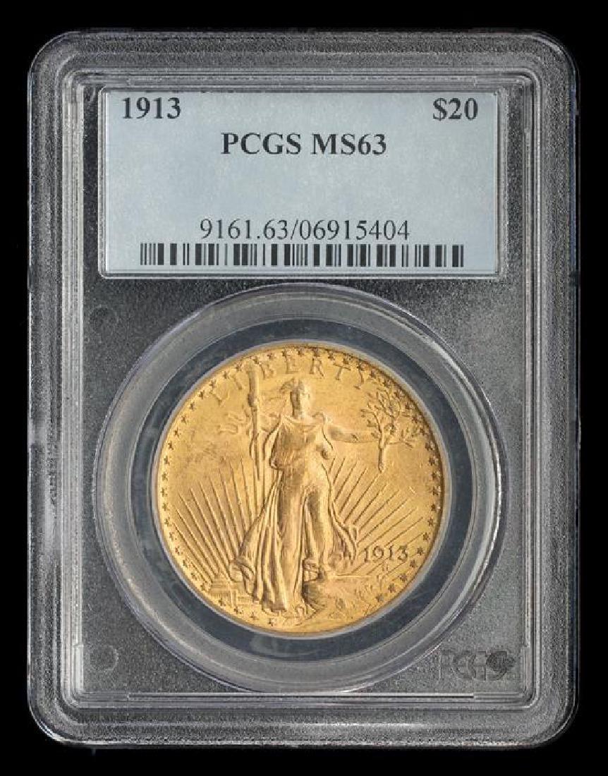 A United States 1913 Saint-Gaudens $20 Gold Coin - 3