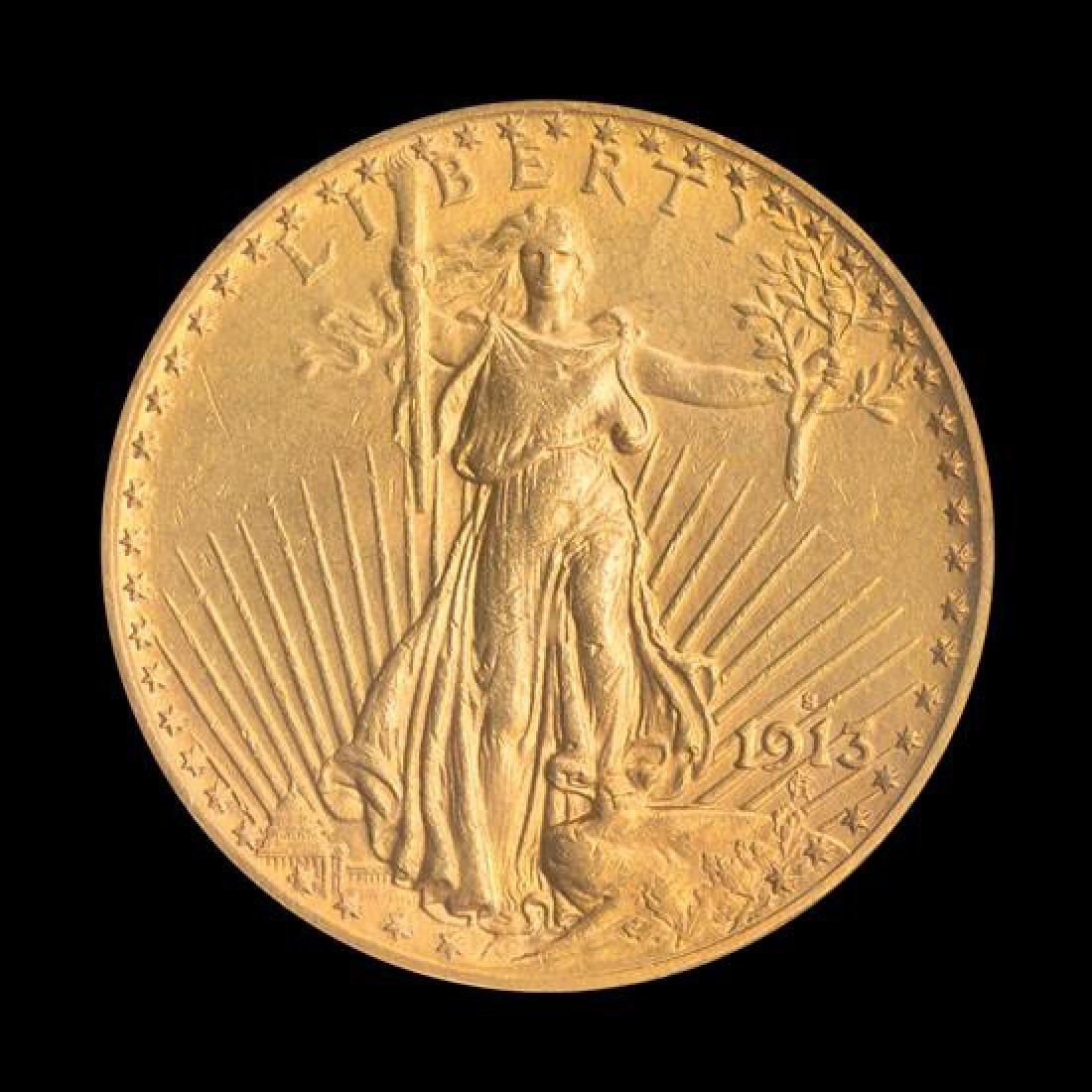 A United States 1913-S Saint-Gaudens $20 Gold Coin