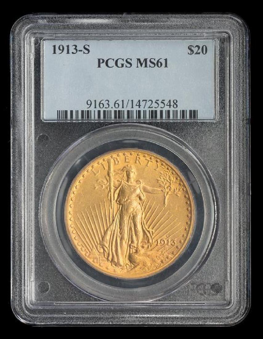 A United States 1913-S Saint-Gaudens $20 Gold Coin - 3
