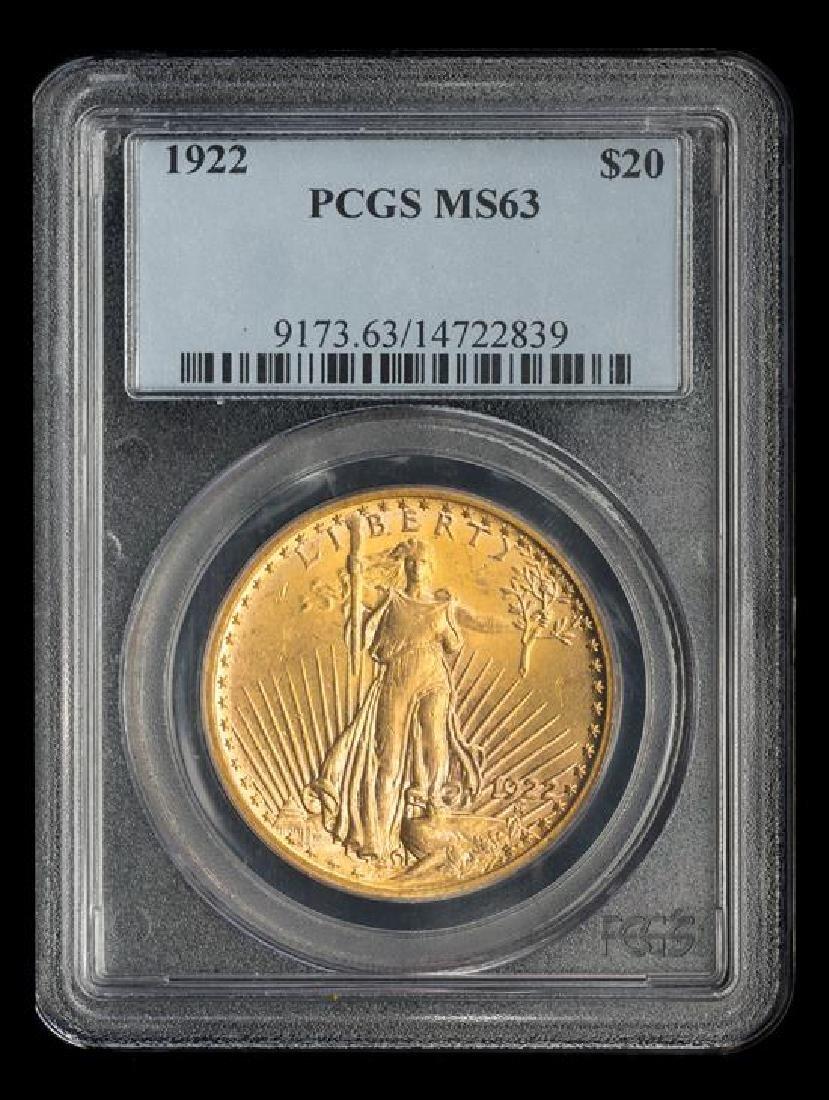 A United States 1922 Saint-Gaudens $20 Gold Coin - 3