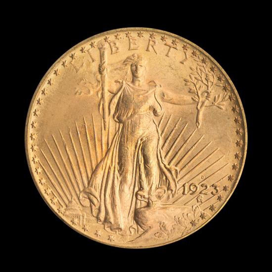 A United States 1923-D Saint-Gaudens $20 Gold Coin