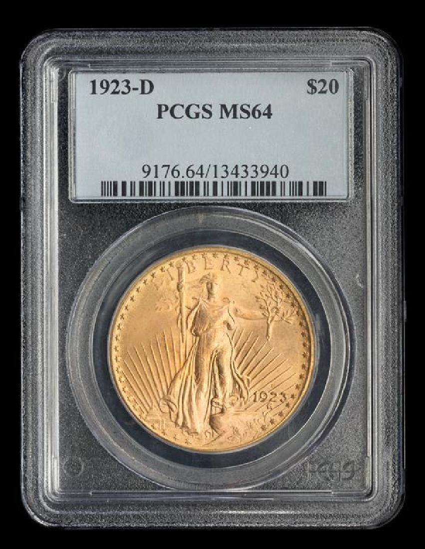 A United States 1923-D Saint-Gaudens $20 Gold Coin - 3