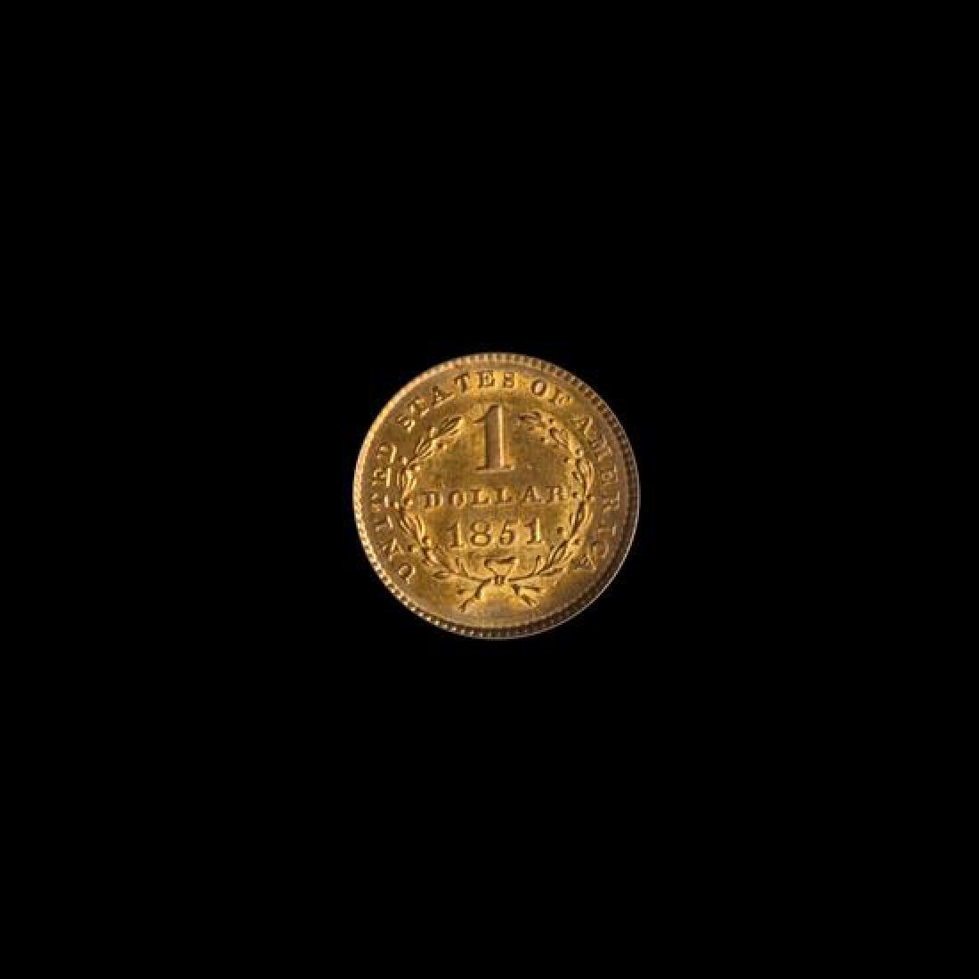 A United States 1851 Liberty Head $1 Gold Coin - 2