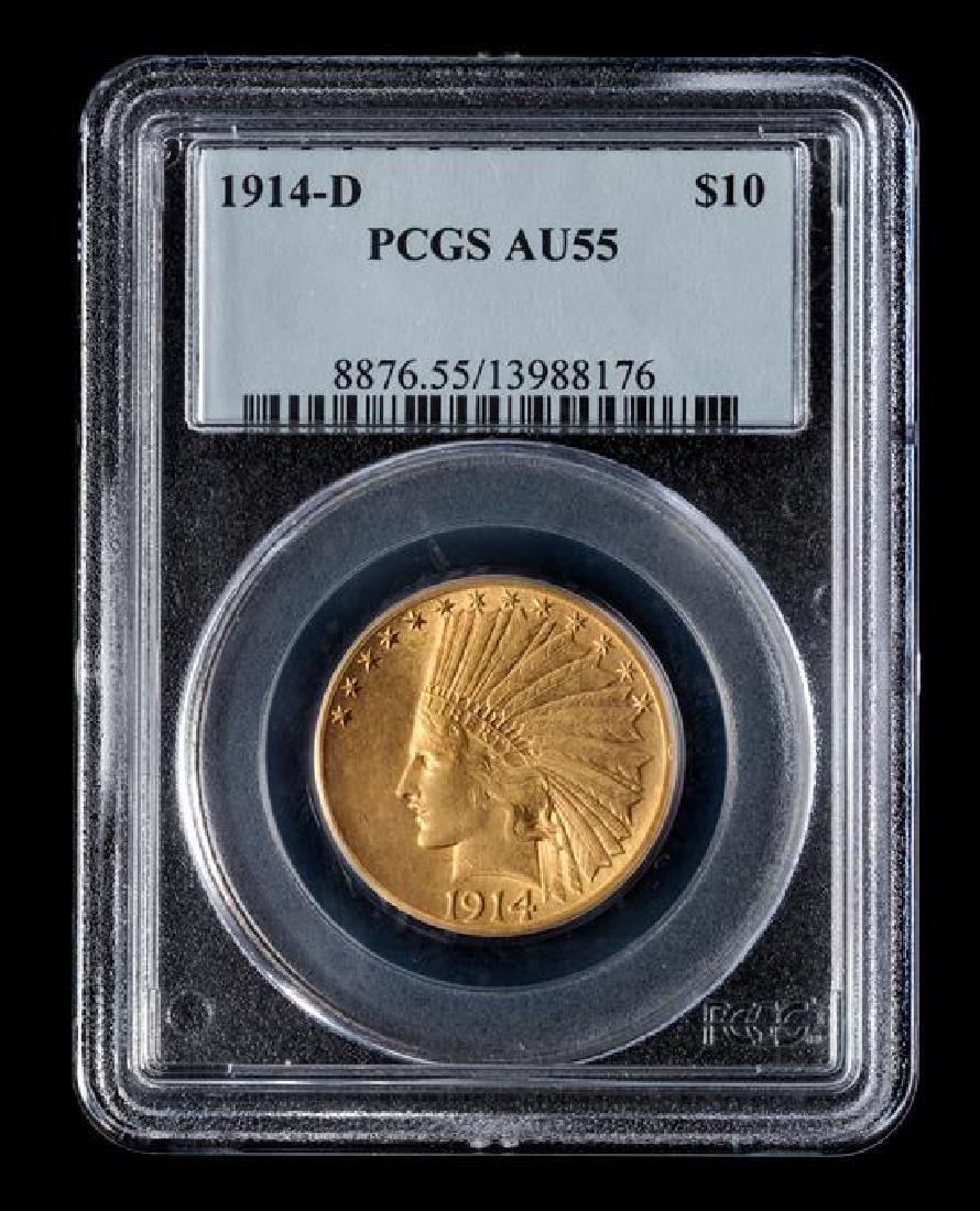 1914-D Indian Head $10 Gold Coin - 3