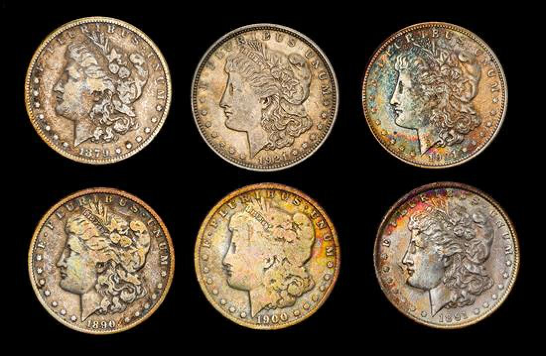 A Group of Six United States Morgan Silver Dollar Coins