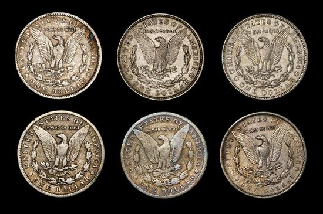 A Group of Six United States Morgan Silver Dollar Coins - 2