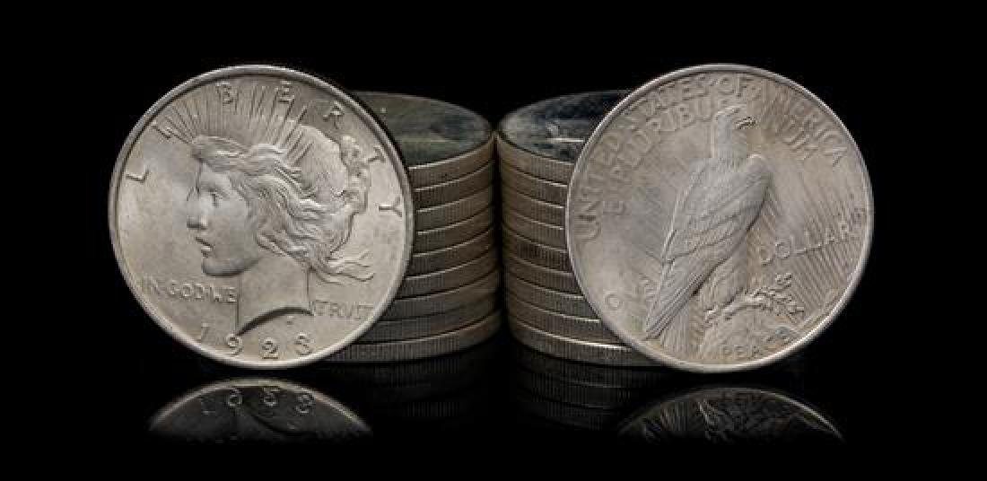 A Group of Twenty United States 1923 Peace Silver