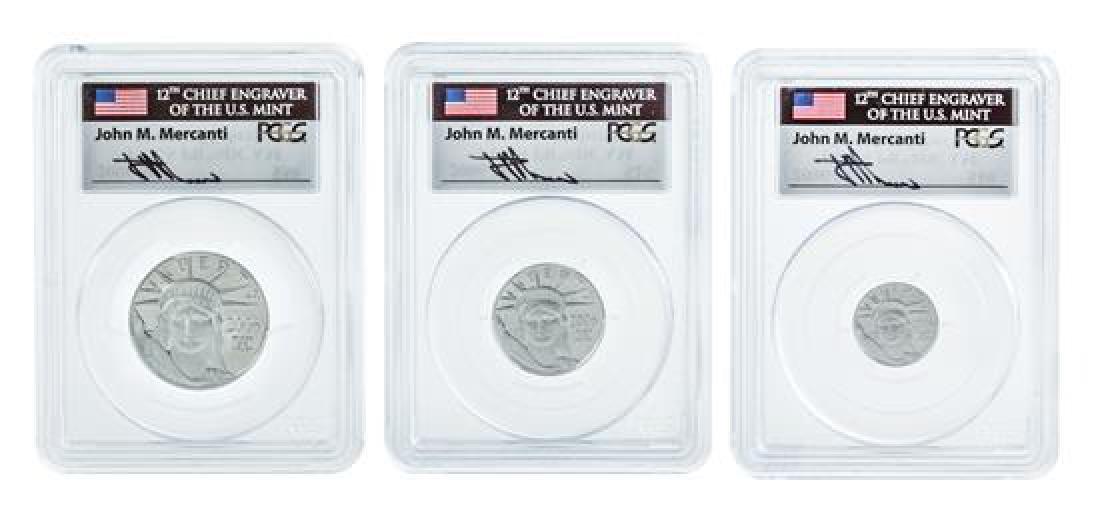 * Three United States 2006-W Statue of Liberty Platinum