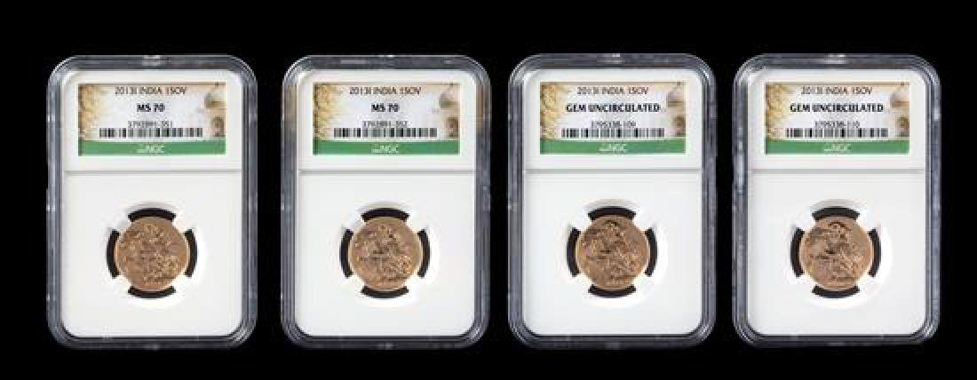 * Four United Kingdom Royal Mint 2013-India Gold